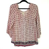 Lucky Brand Womens Sz M Pink Floral Button Front Scoop Neck Peasant Blouse