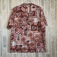 CT Hawaiian Fashions Men's Hawaiian Shirt Large Made In Hawaii Turtles Red