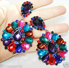 Rhinestone Clip On Chandelier Earrings Bridal Pageant 3.5 inch Multi Color Drag