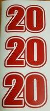 """Racing number 4""""x3"""" sticker decal x3 Motox or Go Kart. THC20. RED"""