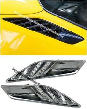 For 14-Up Corvette C7 Carbon Fiber Rear Quarter Panel Airducts Intake Vents Pair