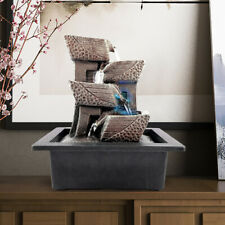 Indoor Fountain 4 Tiers Zen Cascading Water Fountains with Led Light Gifts Us