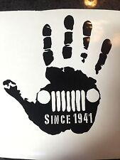 "5"" Jeep Wave Decal Since 1941 Distressed LOTS OF COLORS JK TJ  Window Mirror"