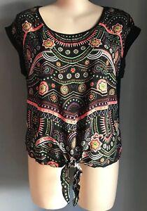 CROSSROADS Boho Festival Tribal Print Front Tie Top Plus Sizes 18 20 22