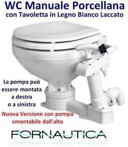 WC MANUALE IN PORCELLANA BIANCO CON TAVOLETTA IN LEGNO PER BARCA NAUTICA CAMPER