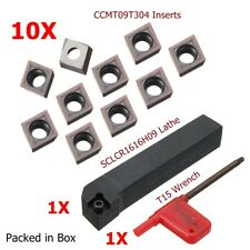 SCLCR1616H09 Lathe Turning Cutter Tool Holder + 10Pcs CCMT09T304 Carbide Insert