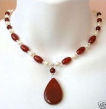 New Pretty 7-8mm White Pearl & Red Ruby Gemstone Pendant Necklace 18'' AAA
