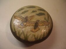 Vintage Solid Brass Enamel Dove Meadow Motif Décor Lid Trinket Box