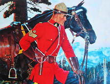 Canadian Mountie RCMP Standing with Horse by Arnold Friberg