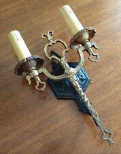Restored Vintage Cast Brass/Iron Medieval 2-light Sconce in Black/Brass.