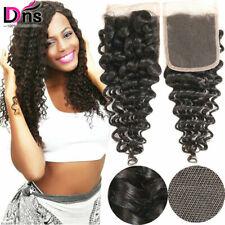 100%Brazilian Virgin Human Hair Wave 4*4 Closure Deep Wave Extensions Weft Black