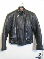VINTAGE 80s BLL UK MADE LEATHER MOTORCYCLE JACKET SIZE 40 ACE PATINA