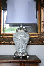 Regency Large Table Lamp 79cm Silver Sparkle Mosaic Base Fabric White Shade