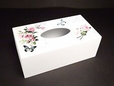 Shabby Chic Style White Wooden Tissue Box Holder Flowery Pattern Design 2