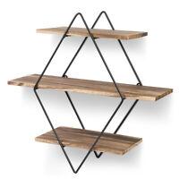 3Tier Corner Wall Shelves Shelf Floating Mounted Storage Rack Display Home Decor