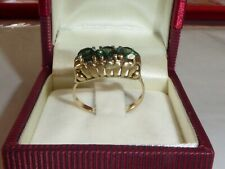 Ring 333 Gelbgold 8K Gold Goldring Turmalin Grüne Stein 56 - 17,8 mm 1484