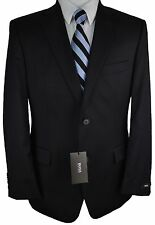 #B282 NEW HUGO BOSS Pasolini/Movie US_2 Solid Black Two Button Suit 40L/34W $795