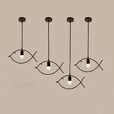 Black Fish Metal Pendant Light Fixture Vintage Kitchen Ceiling Lights Lighting