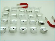 Universal Wheel Nut Covers Chrome 17mm Hex with Removal Tools Set of 20