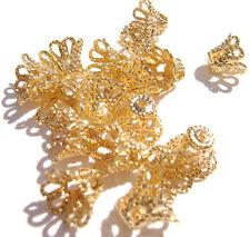 5999FN Bead Cap Gold ptd Brass 7mm Bell Basket Filigree for 7-9mm bead,  100 Qty