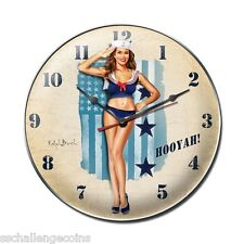 Hooyah Navy Pin Up Steel Clock USN Submarine Flag Aircraft Carrier Battleship