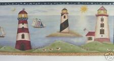 "LIGHTHOUSE SEASHORE BEACH SAILING Wallpaper Border 10 1/4"""