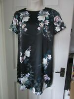 BNWT UK 14 Lipsy Dress Black Lotus Shift Short Sleeve Cream Floral Pattern NEW