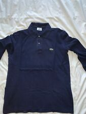 mens long sleeve Lacoste polo shirt Navy Size 4(medium)