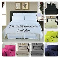 Luxury T-300 100% Egyptian Cotton Fitted Sheet  In All Sizes+ Free U.K. Delivery