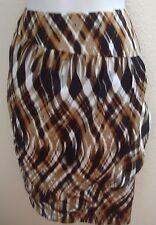 skirt 10 medium m womens career dressy brown black print ruffle dressy