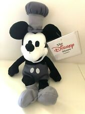 """Steamboat Willie MICKEY MOUSE Plush 10"""" Stuffed Disney Toy Black White with tags"""