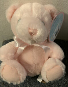 FIRST & MAIN TEDDY BEAR PINK PASTEL PAL NO 2372 PLUSH TOY STUFFED ANIMAL RATTLE