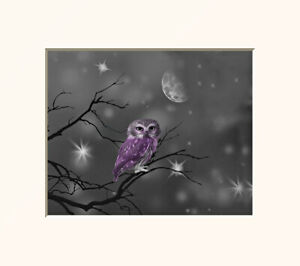 Purple Black White Owl Moon Bedroom Wall Art Matted Picture