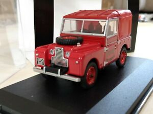 """OXFORD 1/43 LAND ROVER SERIES 1 88"""" CANVAS BACK ROVER FIRE BRIGADE RED LAN188010"""
