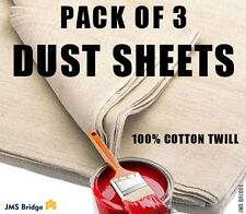 COTTON TWILL HEAVY DUTY DUST SHEETS DECORATING PROFESSIONAL QUALITY PACK OF 3