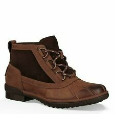 UGG HEATHER BROWN LEATHER WATERPROOF RAIN ANKLE BOOTS SIZE US 6.5 WOMENS