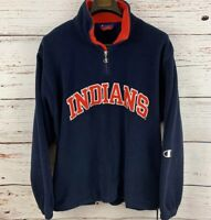 Champion Mens sz L Navy Cleveland Indians Fleece 1/4 Zip Pullover Vtg MLB