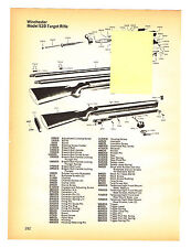 WINCHESTER MODEL 52D TARGET RIFLE WITH EXPLODED VIEW/PARTS LIST 1974 AD