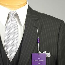 46L Suit SAVILE ROW 3 Piece Black Striped Mens Suits 46 Long - A44