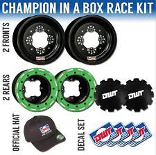 "DWT Green Champion in a Box 10"" Front 9"" Rear Rims Beadlock Rings KFX 400 250"