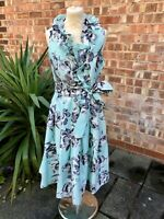 Jessica Howard Mint Green Floral Frill Fit & Flare Dress, UK Size 10