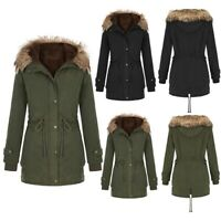 Ladies Fur Lined Coat Women's Winter Warm Thick Jacket Hooded Overcoat Outerwear