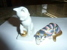 Franklin Mint Curio Cats (2) Euc