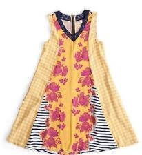 Matilda Jane GOLDEN KEY Dress Medium Yellow Floral Lace Panel Rayon Women's NWT