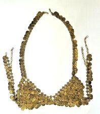 Vintage Gold Tone Metal Belly Dance Coin Bra Egyptian Dancewear