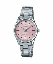 NEWEST Casio LTP-V005D-4B Women's Watch SILVER Stainless Steel PINK Analog Dial
