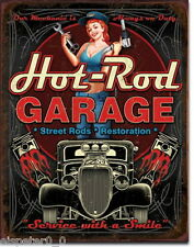 Targa di Latta 31 x 40, Hot Rod Garage - Pistons, USA Werbeschild Art. #1990