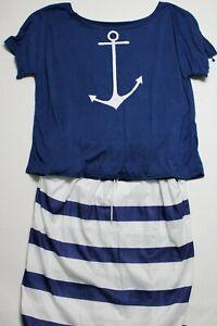 Women's Plus 2 Pieces Set Skirt & T-Shirt Size 3XL Color White / Navy