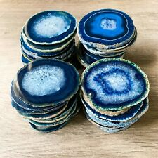 "Blue Agate Coasters 2.75 - 3.0"" Bulk Small Geode Round Slices Wholesale"
