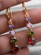 18K Yellow Gold Filled - 1.7'' Round Ruby Pink Topaz Amethyst Women Earrings